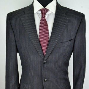 Lubiam Gray Blue White Pinstriped 100% Wool suit